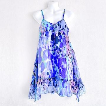 JollyDayssilkシルク青ブルー黒チュニックミニワンピースドレス