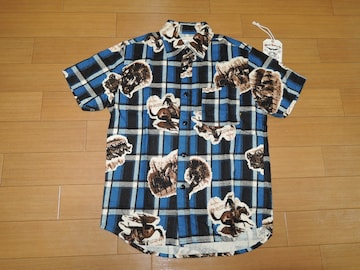 新品 キャリー CALEE ネイティブ柄チェックシャツ S青系 半袖