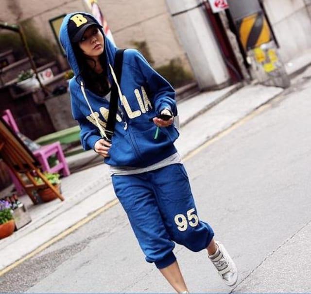 ★大人気★アメカジパーカー上下スエット★ブルー/XXL < 女性ファッションの