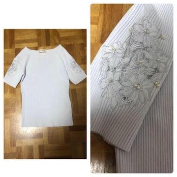 ミッシュマッシュ MISCH MASCH 袖透かし刺繍リブニット
