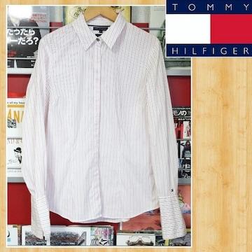 TOMMY HILFIGER トミーヒルフィガー ブラウス ストライプシャツ 8 美品
