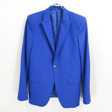 アレキサンダーマックイーン ウール スモーキング ジャケット 48 ブルー テーラード スカル