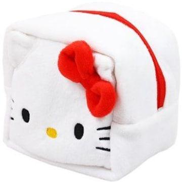 【キティ】可愛い♪コスメ.小物入れ等に 四角形キューブ型 もこもこポーチ