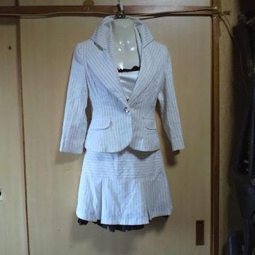MOCRO白 ストライプ ミニスカート スーツ 3点セット