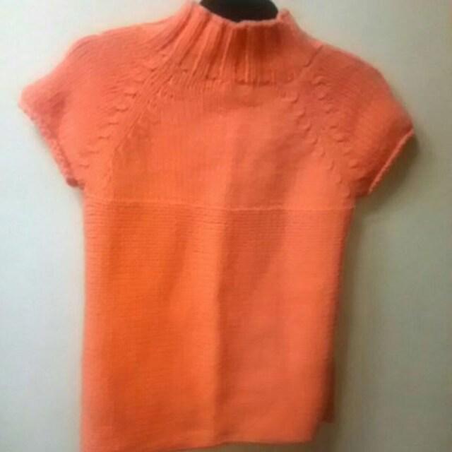 USED美品★ボトルネック袖無セーター/オレンジ < 女性ファッションの