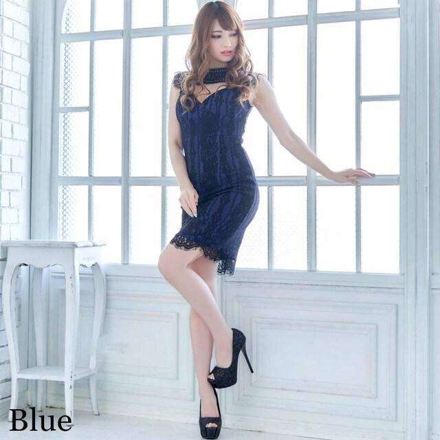 シースルーデザイン ミニドレス 胸元セクシー レース チャムドレス < 女性ファッションの