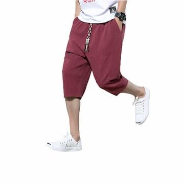 XL サルエルパンツ 赤 ワインレッド メンズ ハーフパンツ