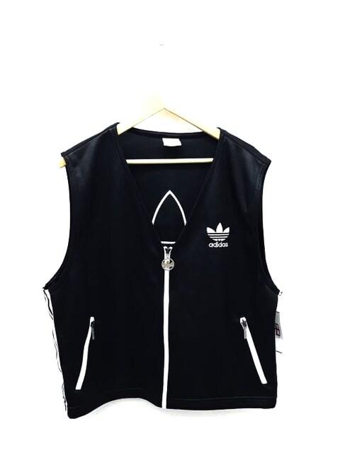 adidas(アディダス)デサント製 バックトレフォイルジャージーベストベスト・ジレ  < 男性ファッションの