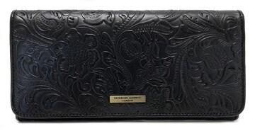 未使用キャサリンハムネット長財布型押しレザーブラック黒KH