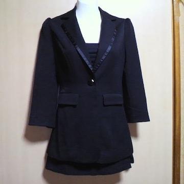 MOCROブラック フェイク ミニスカート スーツ・セットアップ 3点セット
