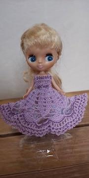 プチブライスラベンダーのレース編みドレス