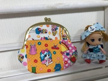昭和レトロ乙女パッチ柄 がま口お財布 ハンドメイド  オレンジ