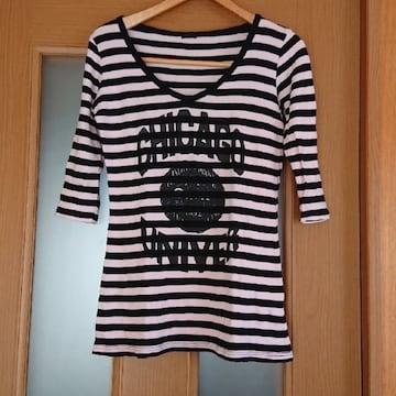 【値下げ不可】ピンク×ブラック ボーダー Aライン 五分袖 ロゴ