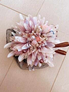 薄い紫グラデ花パールレースリボン可愛いダリア2wayコサージュ