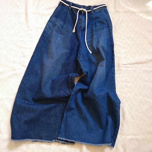 JEANASIS/裾切りっぱなしロープベルトのデニムワイドパンツ/美品