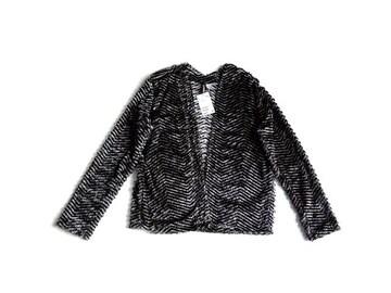 新品 H&M エイチアンドエム シャギー カーディガン 黒 S