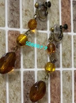 ブラウン系アクリル×ガラスビーズのイヤリング