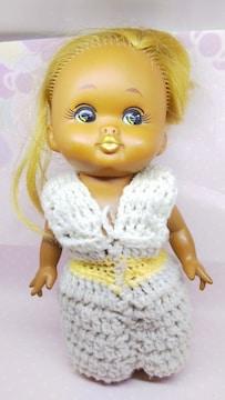 昭和レトロポッポちゃん風ニットを着た女の子抱き人形ドール日本製