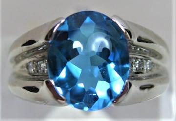 Pt900 プラチナ リング 指輪 ブルートパーズ ダイヤ 0.12ct