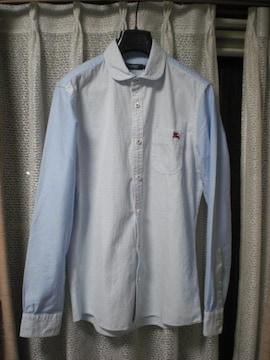 バーバリーブラックレーベル 丸襟ラウンドカラー長袖オックスフォードシャツ