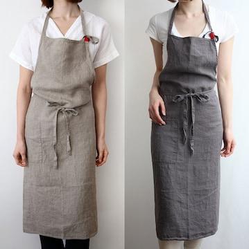 エプロン リネン カフェ風 シンプル  ポケット付き