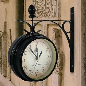 ステーションクロック ブラック 両面時計 壁掛け時計