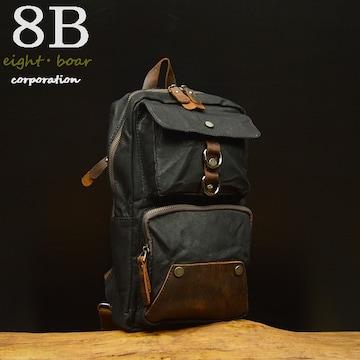 ◆牛本革×防水帆布  中型ボディバッグ プルアップレザー◆黒k9