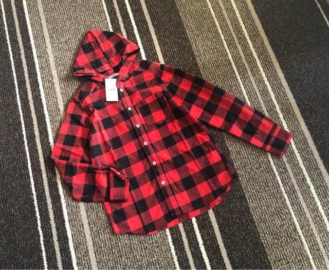 新品☆EDWIN(エドウィン)フード付きチェック柄ネルシャツ150☆  < キッズ/ベビーの