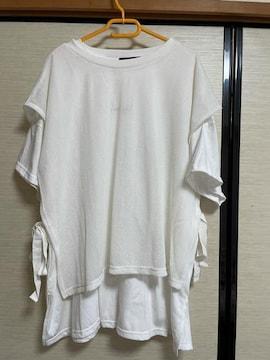 大きいサイズ4L新品すかし編みベスト付きチュニックロンT