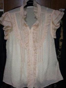淡いピンク半袖フリルブラウス国産上品綺麗S7〜9号