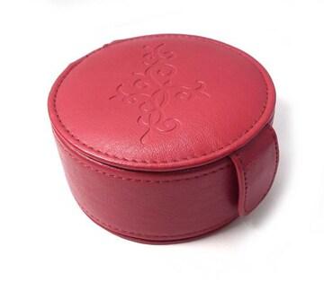 美品 アクセサリーケース 丸型 レッド 赤 アクセサリーポー