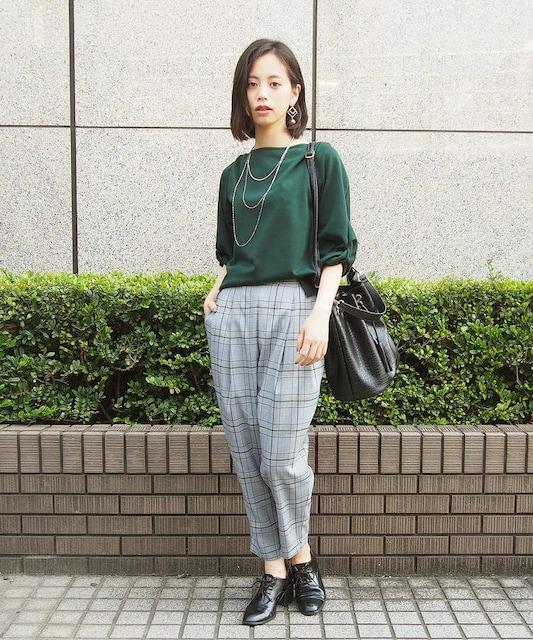 新品☆NICOLE white(ニコルホワイト)チェック柄タックパンツ☆ < 女性ファッションの