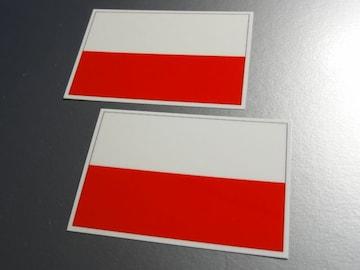 ■ポーランド国旗ステッカー2枚セット即買■スーツケースなどに