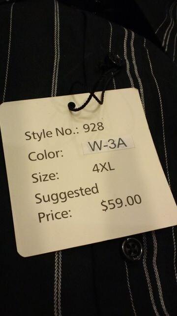 LAーGATE USA ストライプ長袖シャツ 黒系 サイズ4XL→2XL位 �@�C < 男性ファッションの