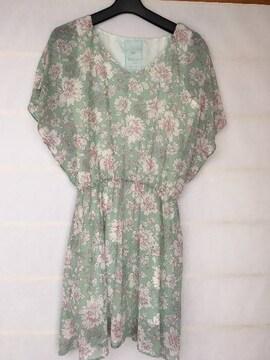 袖フレア F ふんわりワンピ 花柄 ライトグリーン N2m