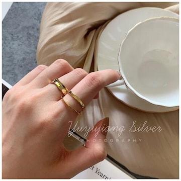 2個セット 指輪☆ゴールド ペアリング フリーサイズ