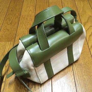 ケイトスペード ミニショルダーバッグ 緑/白 キャンバス×レザー