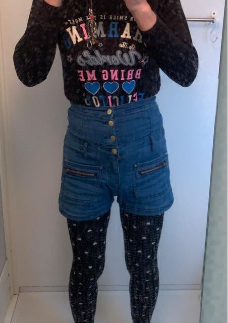 レディースデニム風ハイウエストショートパンツ SS < 女性ファッションの