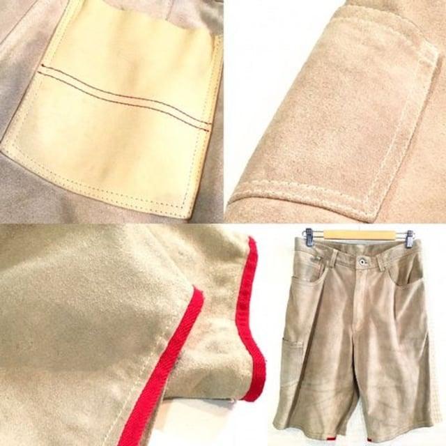 本革レザーショートパンツ■カーゴ■切替■ポケット■ベージュ < 男性ファッションの