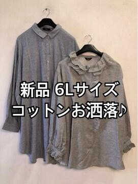 新品☆6L♪ナチュラルお洒落さん♪綿ブラウス・チュニック☆d822