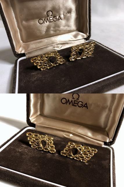 正規新古 オメガ OMEGA Ω 立体ロゴカフス カフリンクス ゴールド オープンボタン < ブランドの