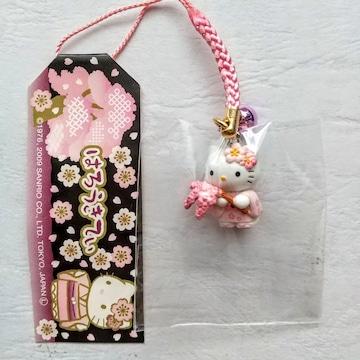 HELLO KITTY 京都 着物と桜 根付 ストラップ ハローキティ