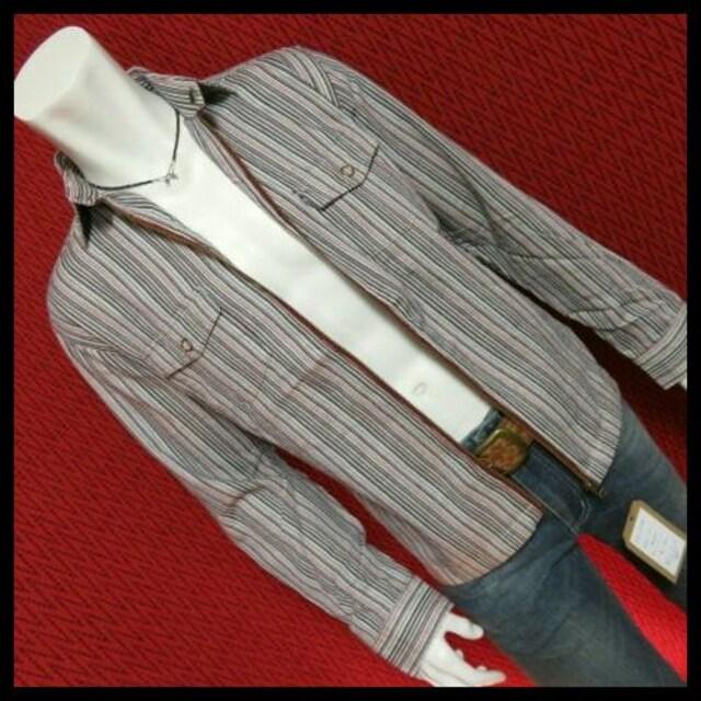ストライプ柄ジップシャツジャケット/10/M  < 男性ファッションの