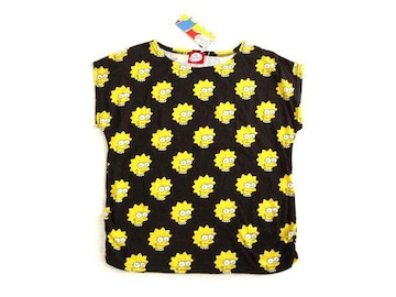 新品 The Simpsons シンプソンズ 黒 総柄 Tシャツ レディース