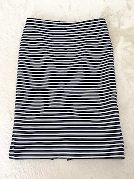 HKWORKSLONDON黒白ボーダーポンチタイトペンシルスカート