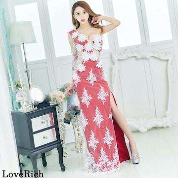 立体花デザイン 深スリット 衣装 ロングドレス チャムドレス