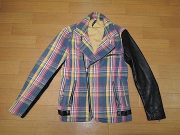 Glamb グラム チェック柄 ライダース ジャケット 1 袖レザー 革