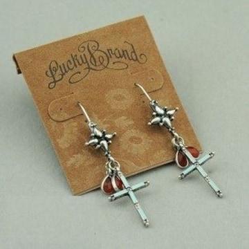 新品Lucky brandラッキーブランドアンティーク調十字架ピアス