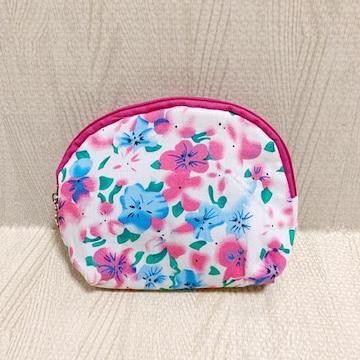 【NEW】花柄マルチポーチ/白×ピンク/花チャーム