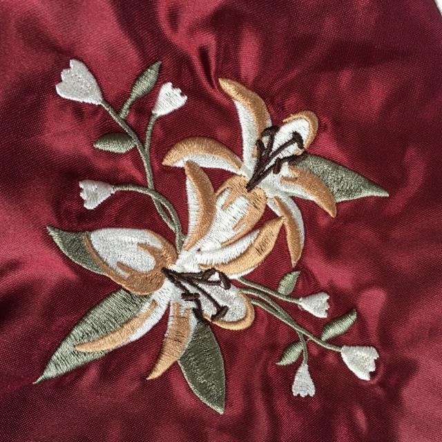 ロゴ&フラワー刺繍スカジャン < 女性ファッションの